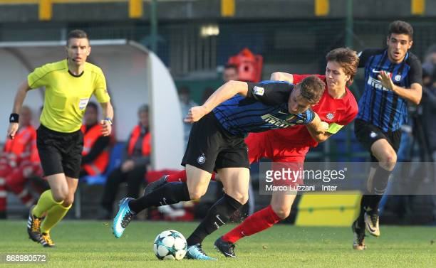 Andrea Pinamonti of FC Internazionale competes for the ball during the UEFA Youth League Domestic Champions Path match between FC Internazionale and...