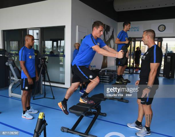 Andrea Pinamonti of FC Internazionale in action during a FC Interazionale training session at Suning training center on July 23 2017 in Nanjing China