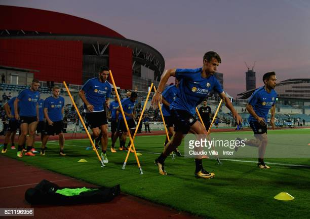 Andrea Pinamonti of FC Internazionale in action during a FC Internazionale training session on July 23 2017 in Nanjing China