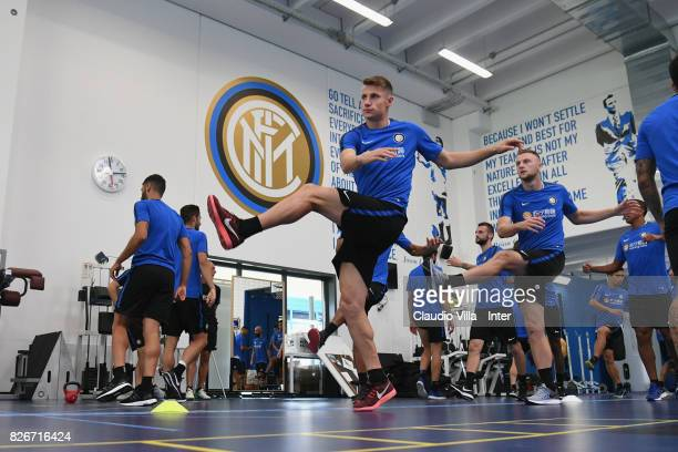 Andrea Pinamonti of FC Internazionale in action during a training session at Suning Training Center at Appiano Gentile on August 3 2017 in Como Italy