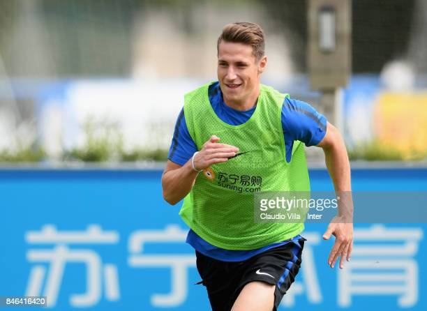 Andrea Pinamonti of FC Internazionale in action during a training session at Suning Training Center at Appiano Gentile on September 13 2017 in Como...