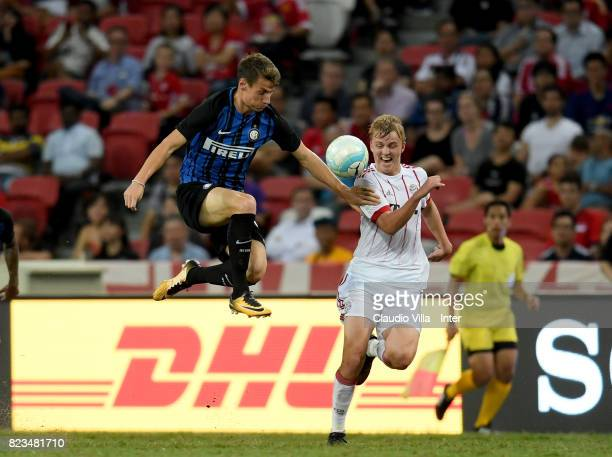 Andrea Pinamonti of FC Internazionale in action during the International Champions Cup match between FC Bayern and FC Internazionale at National...