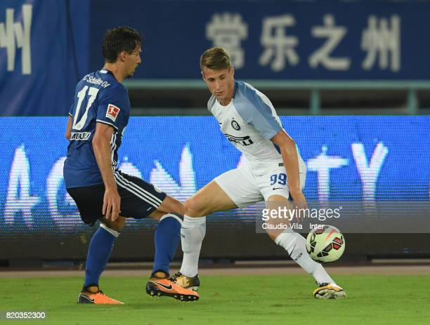 Andrea Pinamonti of FC Internazionale in action during the preseason friendly match between FC Internazionale and FC Schalke 04 at Olympic Stadium on...