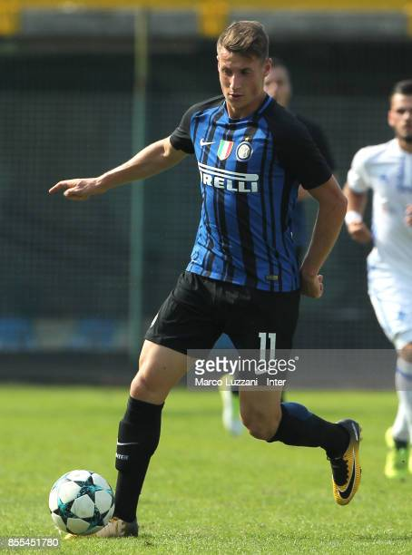 Andrea Pinamonti of FC Internazionale in action during the UEFA Youth League Domestic Champions Path match between FC Internazionale and Dynamo Kiev...