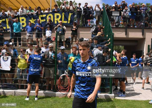 Andrea Pinamonti of FC Internazionale looks on after a training session on July 15 2017 in Reischach near Bruneck Italy