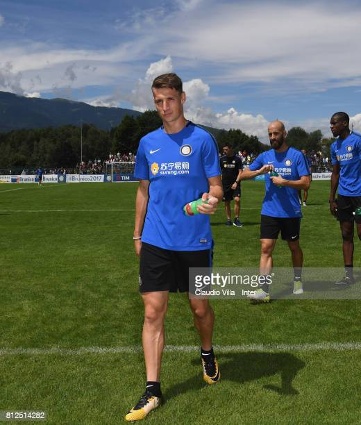 Andrea Pinamonti of FC Internazionale looks on during a FC Internazionale training session on July 11 2017 in Reischach near Bruneck Italy