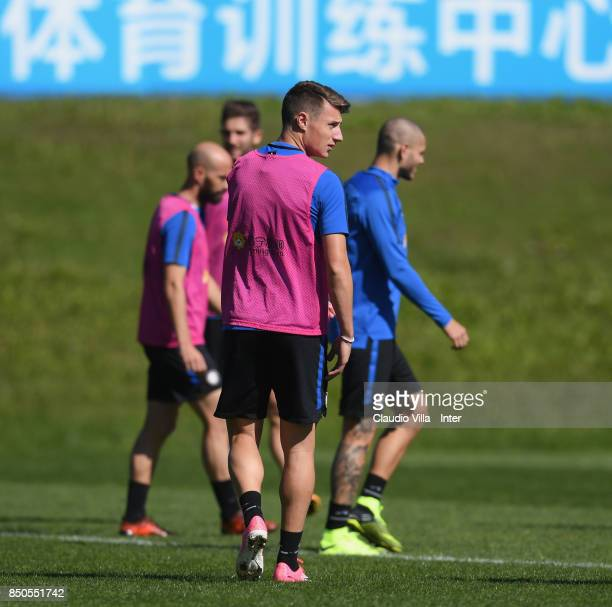 Andrea Pinamonti of FC Internazionale looks on during a training session at Suning Training Center at Appiano Gentile on September 21 2017 in Como...