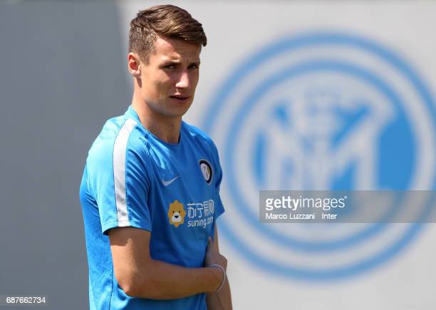 Andrea Pinamonti of FC Internazionale looks on during the FC Internazionale training session at the club's training ground Suning Training Center in...