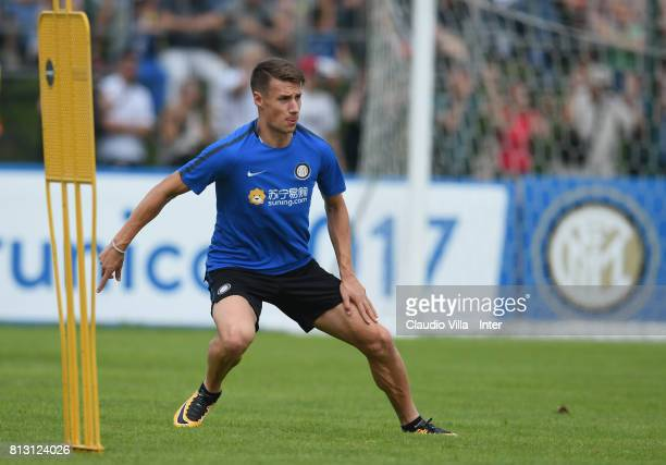 Andrea Pinamonti of FC Internazionale looks on during the FC Internazionale training session on July 12 2017 in Reischach near Bruneck Italy