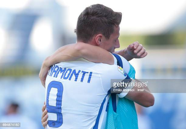 Andrea Pinamonti of FC Internazionale Milano celebrates after his teammate Zinco Vanheusden scored during the Primavera TIM Playoffs match between FC...