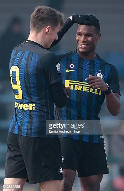 Andrea Pinamonti of FC Internazionale Milano celebrates his goal with his teammate Andrew Rayan Gravillon during the Primavera Tim juvenile match...