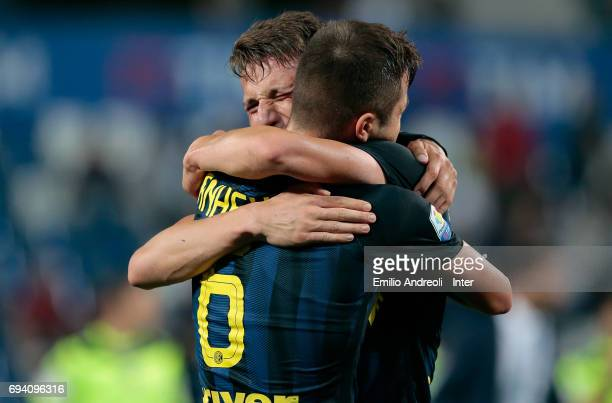 Andrea Pinamonti of FC Internazionale Milano celebrates the victory with his team mate Zinco Vanheusden at the end of the Primavera TIM Playoffs...