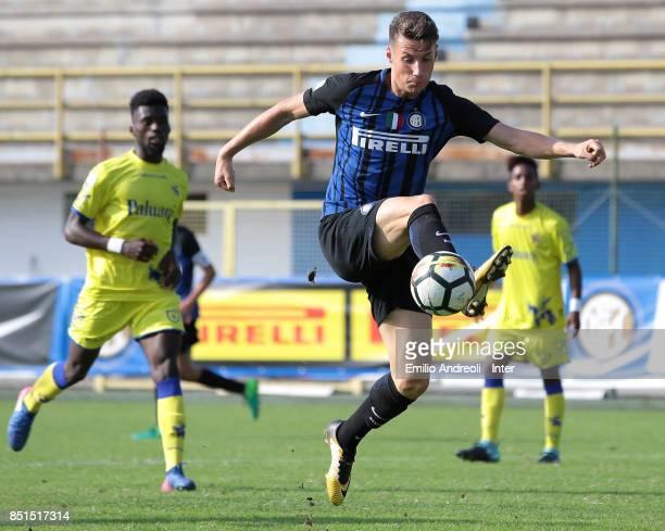 Andrea Pinamonti of FC Internazionale Milano controls the ball during the Serie A Primavera match between FC Internazionale U19 and Chievo Verona U19...