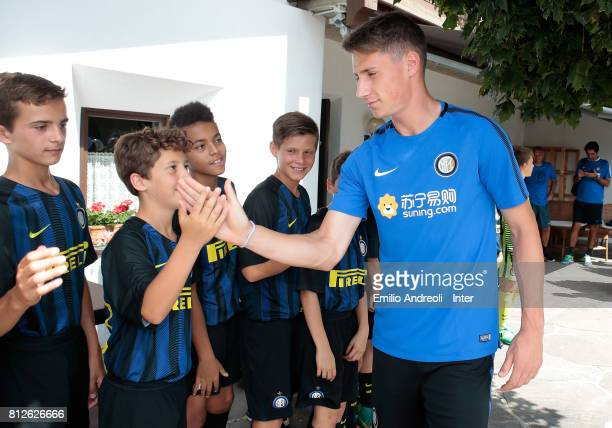 Andrea Pinamonti of FC Internazionale Milano during a meet and greet with the young players of Centri di Formazione Inter on July 11 2017 in...