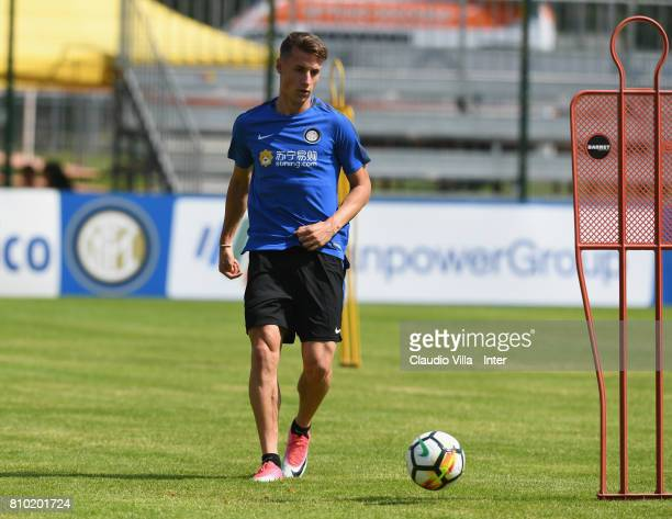Andrea Pinamonti of FC Internazionale Milano in action during a FC Internazionale training session on July 7 2017 in Reischach near Bruneck Italy