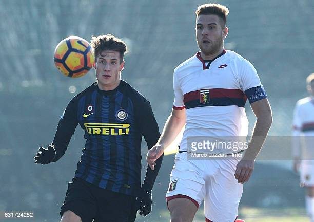 Andrea Pinamonti of FC Internazionale Milano in action during the Primavera Tim juvenile match between FC Internazionale and Genoa CFC at Stadio...