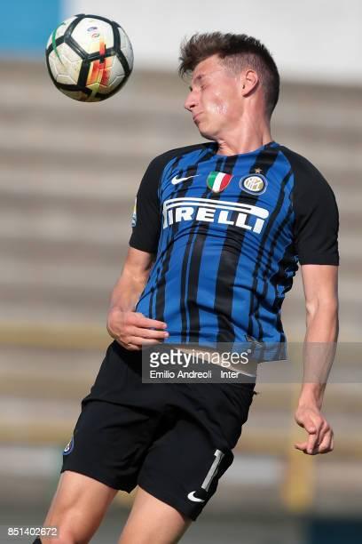 Andrea Pinamonti of FC Internazionale Milano jumps for the ball during the Serie A Primavera match between FC Internazionale U19 and Chievo Verona...
