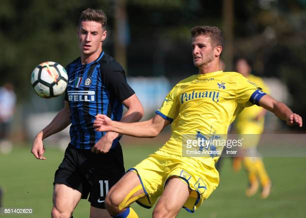 Andrea Pinamonti of FC Internazionale Milano looks the ball during the Serie A Primavera match between FC Internazionale U19 and Chievo Verona U19 at...