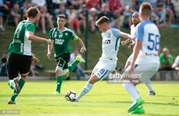Andrea Pinamonti of FC Internazionale Milano scores the opening goal of the season during the Preseason Friendly match between FC Internazionale and...