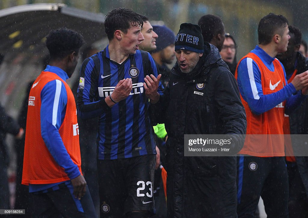 Andrea Pinamonti of FC Internazionale Milano walks off after getting a red card during the juvenile TIM cup match between FC Internazionale and SS Lazio at Stadio Breda on February 9, 2016 in Sesto San Giovanni, Italy.