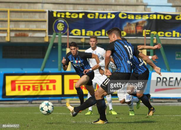 Andrea Pinamonti of FC Internazionale scores his goal from the penalty spot during the UEFA Youth League Domestic Champions Path match between FC...