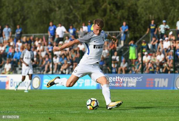 Andrea Pinamonti of FC Internazionale scores the opening goal during the Preseason Friendly match between FC Internazionale and Wattens on July 9...