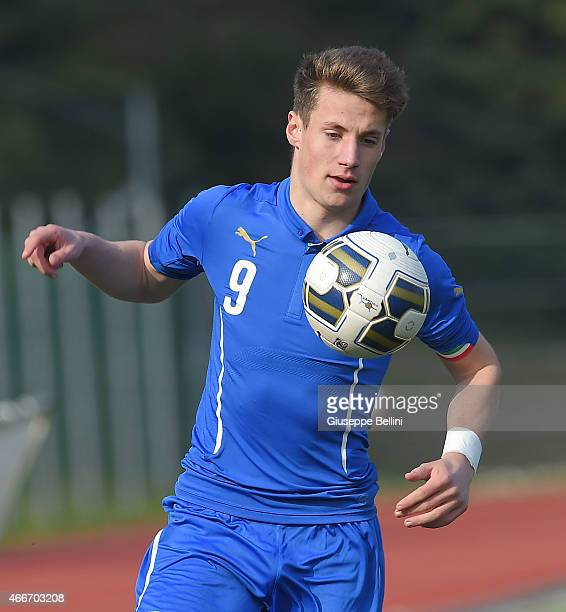 Andrea Pinamonti of Italy in action during the international friendly match between U16 Italy and U16 Germany on March 18 2015 in Recanati Italy