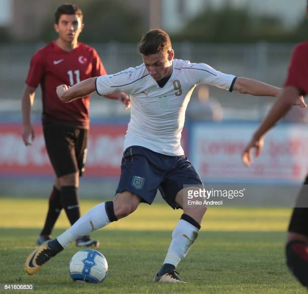 Andrea Pinamonti of Italy in action during the U19 international friendly match between Italy U19 and Turkey U19 on September 1 2017 in Noceto Italy