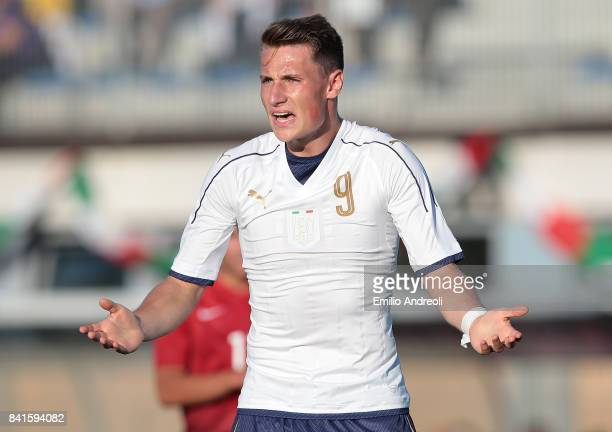 Andrea Pinamonti of Italy reacts during the U19 international friendly match between Italy U19 and Turkey U19 on September 1 2017 in Noceto Italy