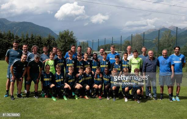 Andrea Pinamonti Zinho Vanheusden Stefano Vecchi and Roberto Samaden of FC Internazionale Milano during a meet and greet with the young players of...