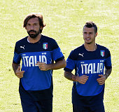 Andrea Pirlo and Sebastian Giovinco in action during the Italy training session at Coverciano on October 8 2015 in Florence Italy