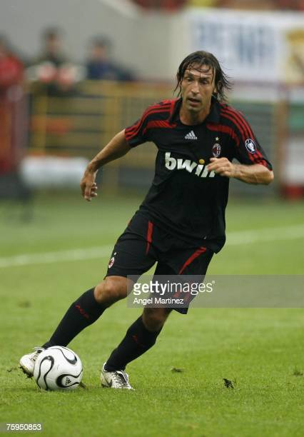 Andrea Pirlo of AC Milan in action during the Railways trophy match between AC Milan and PSV Eindhoven at the Lokomotiv stadium on August 3 2007 in...