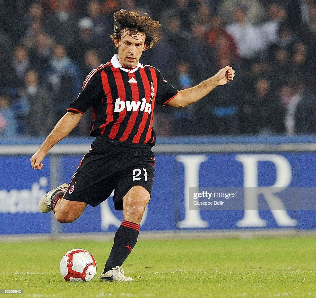 <a gi-track='captionPersonalityLinkClicked' href=/galleries/search?phrase=Andrea+Pirlo&family=editorial&specificpeople=198835 ng-click='$event.stopPropagation()'>Andrea Pirlo</a> of AC Milan in action during the Serie A match between SSC Napoli and AC Milan at Stadio San Paolo on October 28, 2009 in Rome, Italy.
