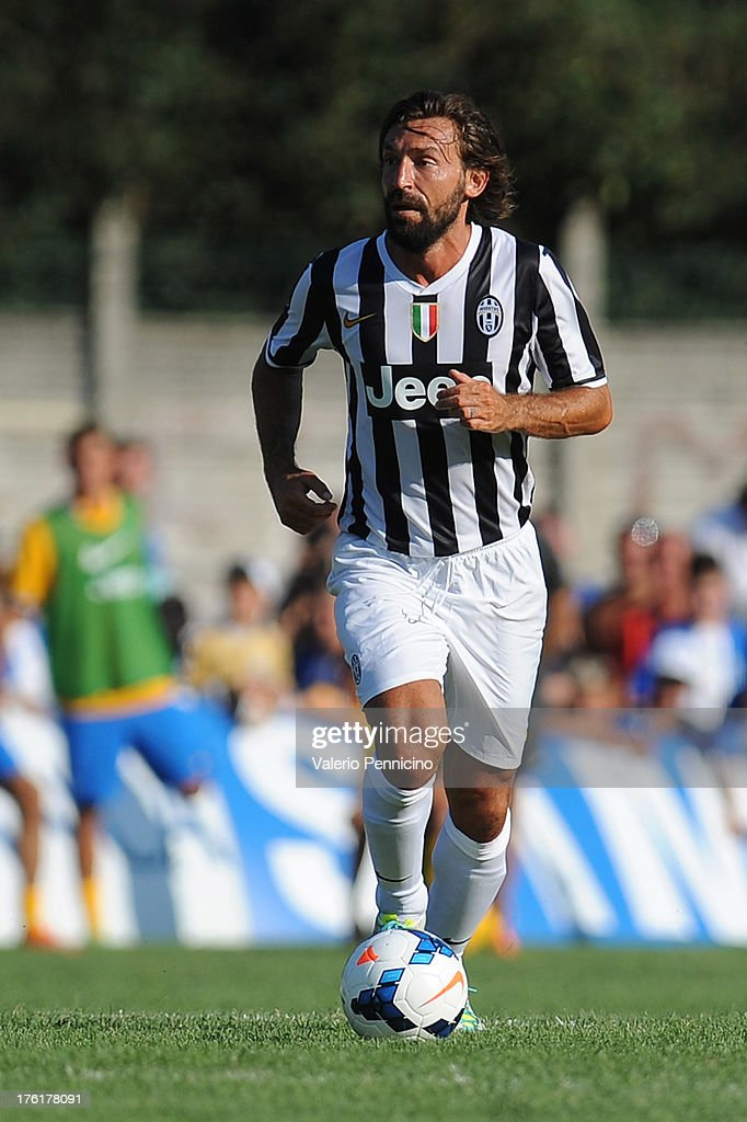 Andrea Pirlo of FC Juventus in action during the pre-season friendly match between FC Juventus A and FC Juventus B on August 11, 2013 in Villar Perosa near Pinerolo, Italy.