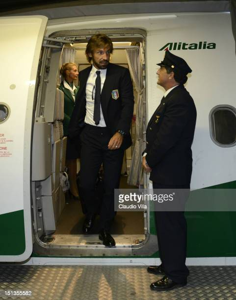 Andrea Pirlo of Italy arrives at Sofia International Airport Sofia ahead of their FIFA World Cup Brazil 2014 qualifier against Bulgaria on September...