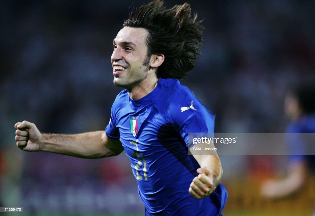 <a gi-track='captionPersonalityLinkClicked' href=/galleries/search?phrase=Andrea+Pirlo&family=editorial&specificpeople=198835 ng-click='$event.stopPropagation()'>Andrea Pirlo</a> of Italy celebrates during the FIFA World Cup Germany 2006 Semi-final match between Germany and Italy played at the Stadium Dortmund on July 04, 2006 in Dortmund, Germany.