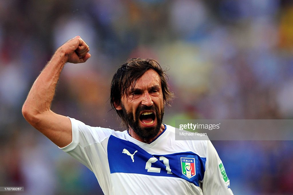 <a gi-track='captionPersonalityLinkClicked' href=/galleries/search?phrase=Andrea+Pirlo&family=editorial&specificpeople=198835 ng-click='$event.stopPropagation()'>Andrea Pirlo</a> of Italy celebrates scoring the opening goal during the FIFA Confederations Cup Brazil 2013 Group A match between Mexico and Italy at the Maracana Stadium on June 16, 2013 in Rio de Janeiro, Brazil.