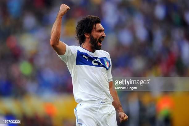Andrea Pirlo of Italy celebrates scoring the opening goal during the FIFA Confederations Cup Brazil 2013 Group A match between Mexico and Italy at...