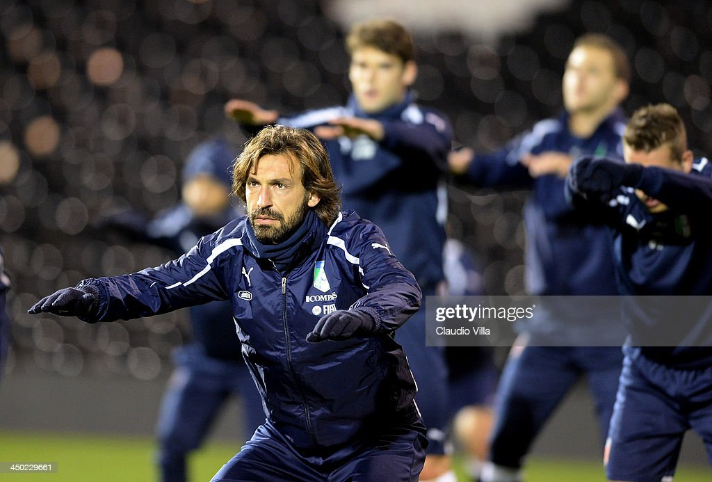 <a gi-track='captionPersonalityLinkClicked' href=/galleries/search?phrase=Andrea+Pirlo&family=editorial&specificpeople=198835 ng-click='$event.stopPropagation()'>Andrea Pirlo</a> of Italy during a training session at Craven Cottage on November 17, 2013 in London, England.