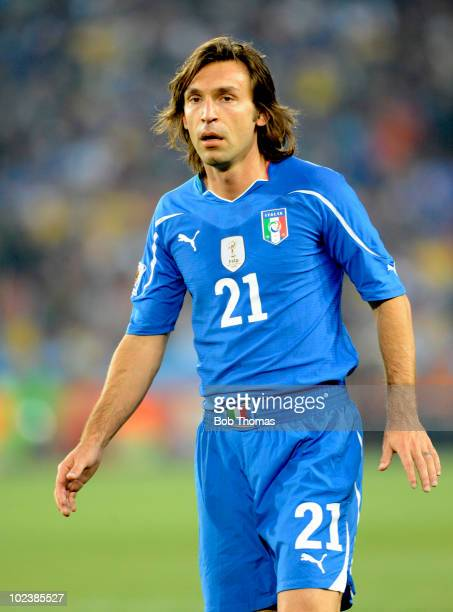 Andrea Pirlo of Italy during the 2010 FIFA World Cup South Africa Group F match between Slovakia and Italy at Ellis Park Stadium on June 24 2010 in...