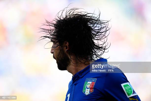 Andrea Pirlo of Italy in action during the 2014 FIFA World Cup Brazil Group D match between Italy and Uruguay at Estadio das Dunas on June 24 2014 in...