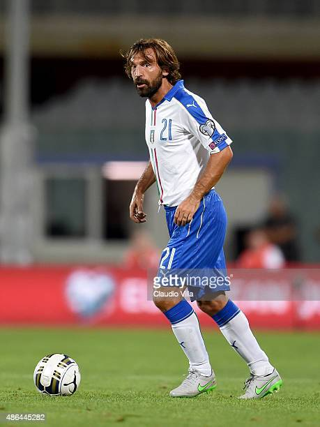 Andrea Pirlo of Italy in action during the EURO 2016 Group H Qualifier match between Italy and Malta on September 3 2015 in Florence Italy