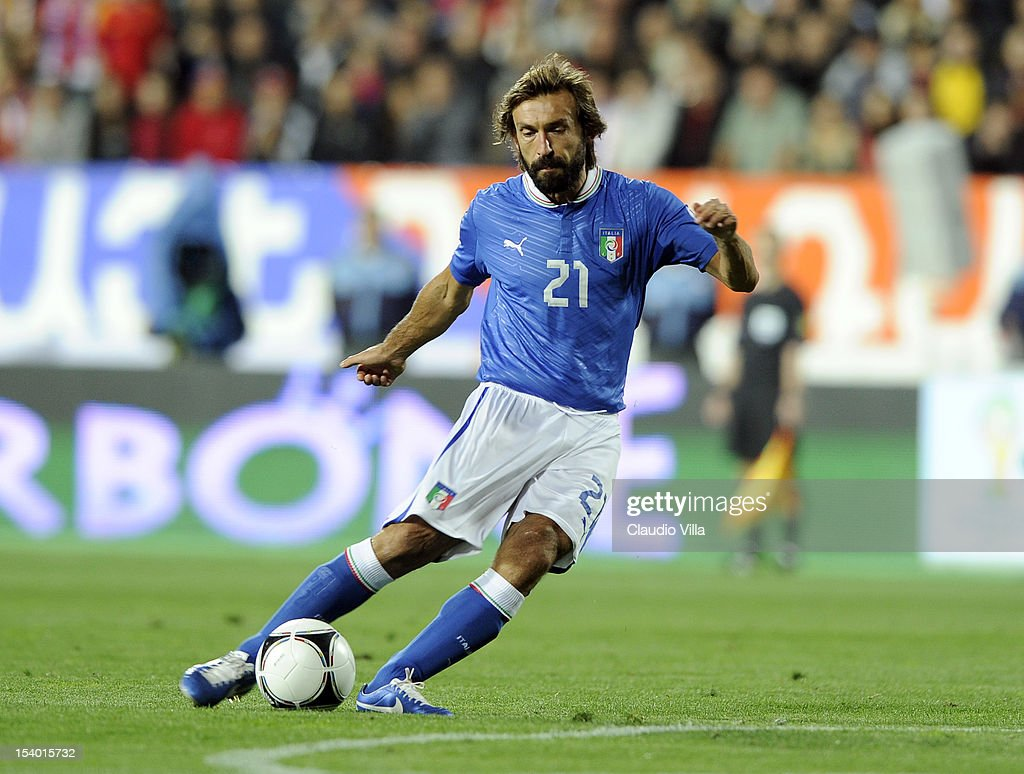 <a gi-track='captionPersonalityLinkClicked' href=/galleries/search?phrase=Andrea+Pirlo&family=editorial&specificpeople=198835 ng-click='$event.stopPropagation()'>Andrea Pirlo</a> of Italy in action during the FIFA 2014 World Cup Qualifier group B match between Armenia and Italy at Hrazdan Stadium on October 12, 2012 in Yerevan, Armenia.