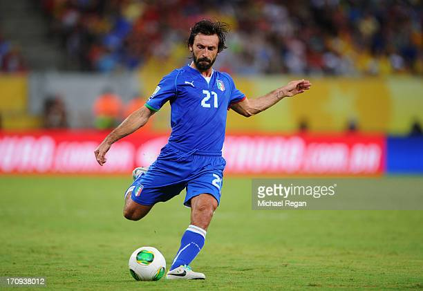 Andrea Pirlo of Italy in action during the FIFA Confederations Cup Brazil 2013 Group A match between Italy and Japan at Arena Pernambuco on June 19...