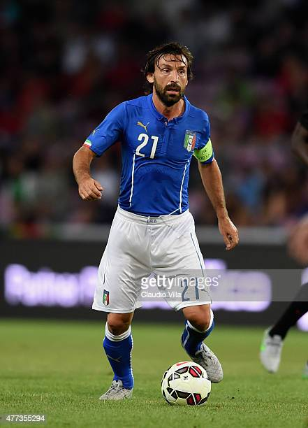 Andrea Pirlo of Italy in action during the international friendly match between Portugal and Italy at Stade de Geneve on June 16 2015 in Geneva...