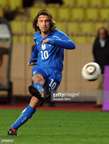 Andrea Pirlo of Italy in action during the International Friendly match between Italy and Cameroon at Louis II Stadium on March 3 2010 in Monaco...