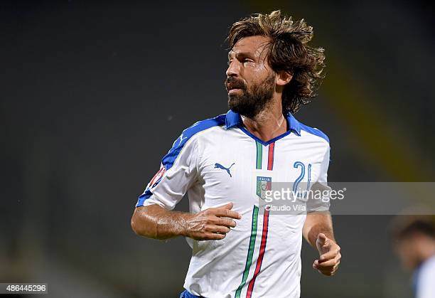 Andrea Pirlo of Italy looks on during the EURO 2016 Group H Qualifier match between Italy and Malta on September 3 2015 in Florence Italy