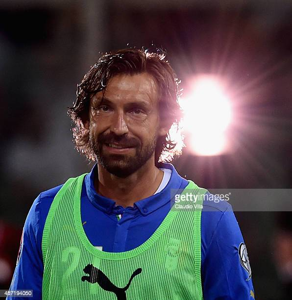 Andrea Pirlo of Italy looks on prior to the UEFA EURO 2016 Qualifier match between Italy and Bulgaria on September 6 2015 in Palermo Italy