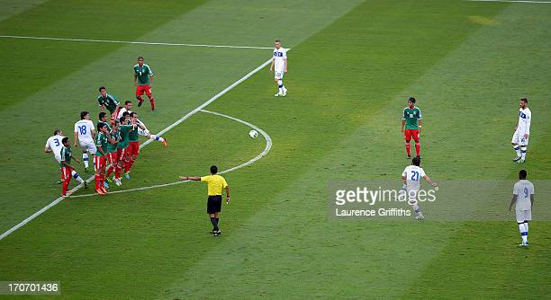 Andrea Pirlo of Italy scores the opening goal from a freekick during the FIFA Confederations Cup Brazil 2013 Group A match between Mexico and Italy...