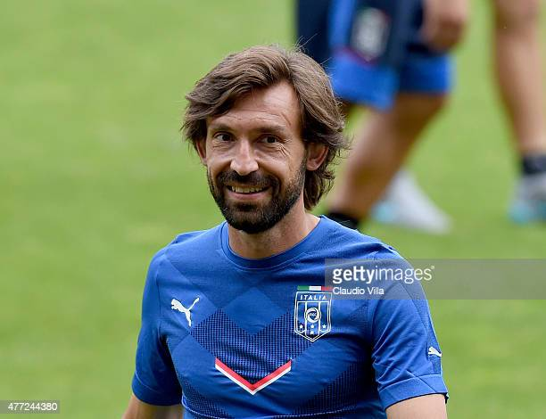 Andrea Pirlo of Italy smiles during an Italy training session at Stade de Geneve on June 15 2015 in Geneva Switzerland